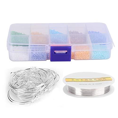 Mini perlas de cristal, con alambre de cobre y contenedor para joyas y accesorios para adultos y niños.