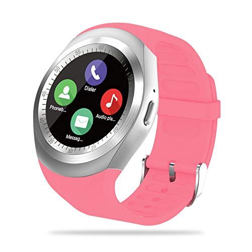 FENHOO Smartwatch, rastreador de Actividad física para Mujeres y Hombres con Ranura para Tarjeta SIM, Reloj con podómetro, recordatorio de notificación de Facebook Twitter para Android (Rosado)