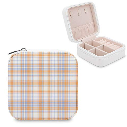 Small Jewellery Box, Mini Size Travel Jewelry Storage Case with Faux PU Lidded Light Weight, Rings,Earring,Necklace Organiser with Various Compartments/Azure Tartan Material Property Symmetry Parallel
