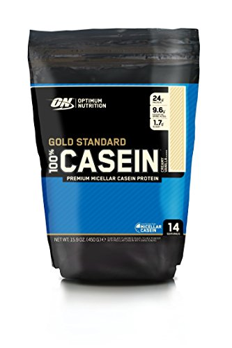 Optimum Nutrition Gold Standard Casein Slow Digesting Protein Powder Shake with Glutamine and Amino Acids, Creamy Vanilla, 14 Servings, 450 g