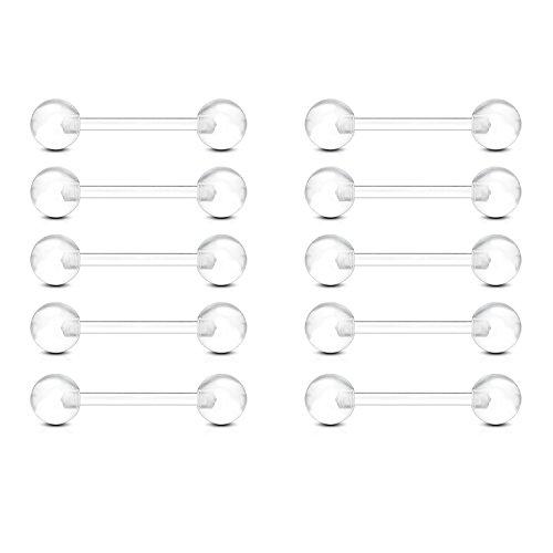 FECTAS 10pcs Langue Piercing Mamelon Piercing Ensemble Bioflex Plastique Barbell 12/14/16/18 mm Piercing Bijoux