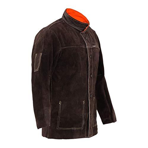 Stamos Welding Chaqueta de soldador Ropa Trabajo SWJ01M (Talla M, Cuero vacuno, Costuras resistentes al calor, Botones aislantes) Verde oscuro