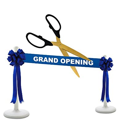 "Deluxe Grand Opening Kit - 36"" Gold Ceremonial Ribbon Cutting Scissors with 5 Yards of 6"" Grand Opening Ribbon, 2 Bows and 2 White Plastic Stanchions"