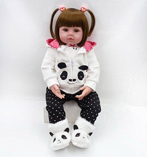 MAIDEDOLL Reborn Muñecas de bebé de Vinilo de Silicona Suave Realista Recién Panda Coat Negro Zapatos de Pantalones Nacido para niños Mayores de 3 años Juguete (48CM)