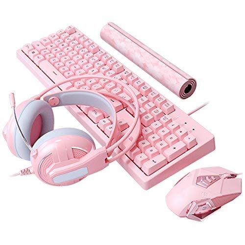 Wired Pink 4-in-1-Gaming-Tastatur Maus-Combo-Set 104 Tasten LED Backlit Gaming-Tastatur + 4800DPI 7 Tasten Optische Maus + Gaming-Headset + Mäuse-Pad für Laptop-Computer (Pink Pro)
