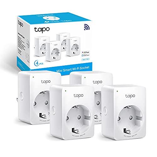 TP-Link Prese Intelligente WiFi Smart Plug, Compatibile con Alexa e Google Home, Controllo Remoto tramite APP Tapo, 10A, 2300W (Tapo P100, 4 Pezzi)