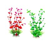 ANYY Plantas acuáticas artificiales - decoraciones de plástico para peceras de cerámica, base de agua, hierba de simulación vívida, criatura, paisaje de acuario, 2 piezas (M, verde rojo)
