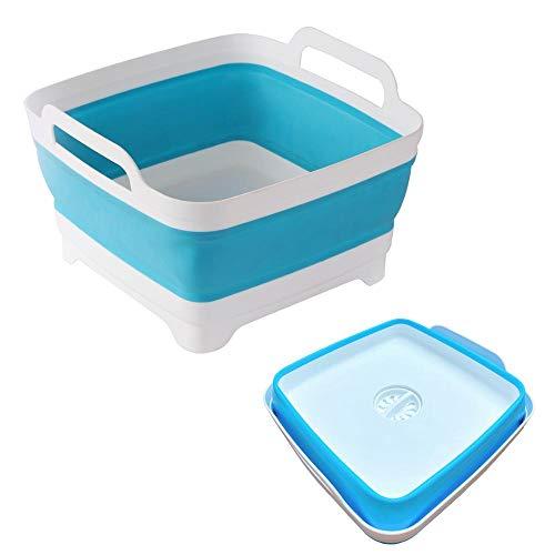 Lavabo plegable con asas de drenaje para capacidad de 9 L, fregadero plegable, lavabo, cubeta portátil, plato plegable para camping, bañera y fregadero de RV (azul)