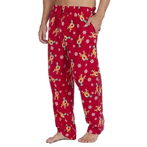 Style It Up Herren-Schlafanzughose, Schottenkaro, einfarbig, weich, warm, Fleece Gr. L, Rot Rentier