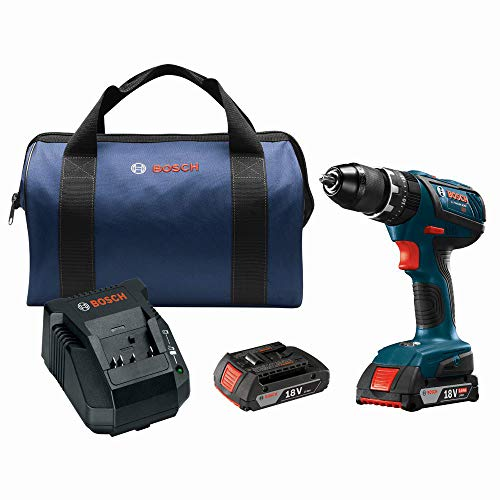 Bosch HDS181A-02-RT 18V Lithium-Ion 1/2 in. Cordless Hammer Drill Driver Kit (2 Ah) (Renewed)