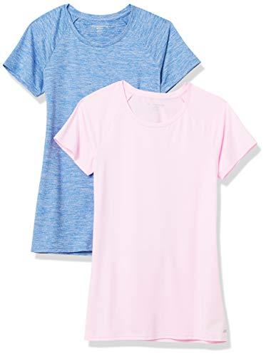 Amazon Essentials Cap-Sleeve Tech Stretch 2-Pack T-Shirt, Blue Spacedye/Light Pink, XXL
