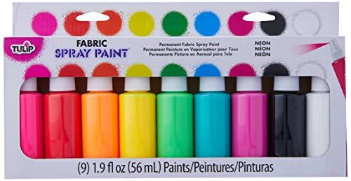 Tulip Permanent Fabric Spray Paint, 9 Pack, Neon, Nontoxic, Non-Aerosol