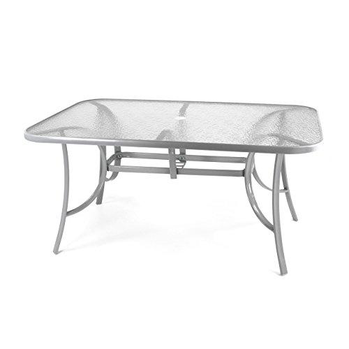 Nexos Gartentisch Esstisch Terrassentisch Glastisch (Glasplatte: klar) – Silber-grau - 150 cm Stahl mit Schirmloch