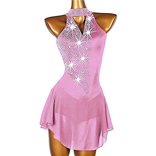 HYQW Eiskunstlaufkleid Handgefertigter Wettbewerb Rhythmische Gymnastik Trikot Strass Ärmelloses Yan Pink Eiskunstlaufkleid,Yanpink-XL