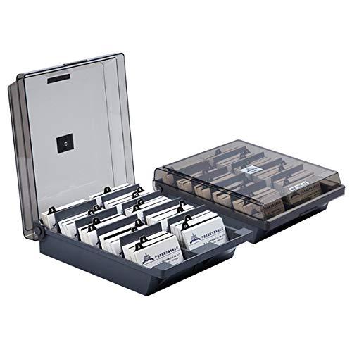 Yudanny Visitenkarten-Aufbewahrungsbox Visitenkarten-Organizer Kreditkartenhalter Datei 1000 Karten Kapazität mit Trennwänden A-Z grau
