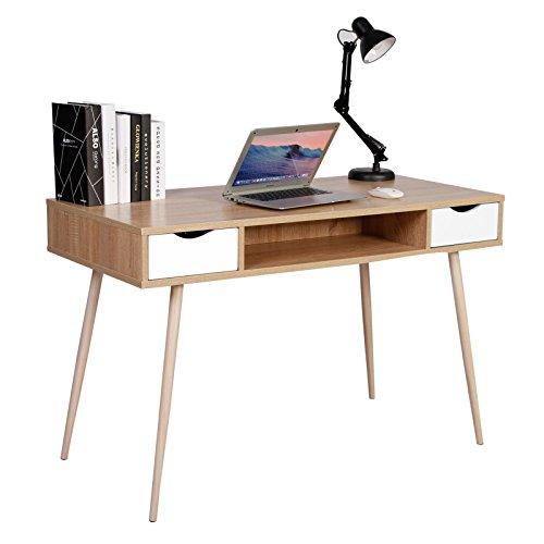 Woltu TSG19hei - Mesa de ordenador de mesa de escritorio de metal y madera, mesa de trabajo con 2 cajones y 1 compartimento abierto, 120 x 58 x 77 cm, roble