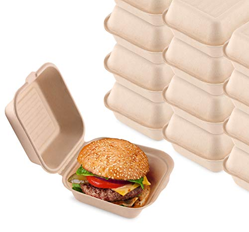 Bagasse Clamshell Takeout Containers, Biodegradable Eco Friendly Take...