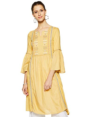 W for Woman Women's Rayon Kurta (19AUW12252-211674_Yellow_3XL (18))