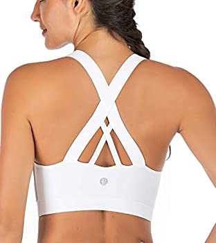 RUNNING GIRL Sports Bra for Women Criss-Cross Back Padded Strappy Sports Bras Medium Support Yoga Bra with Removable Cups WX2353.White.CN L,US M