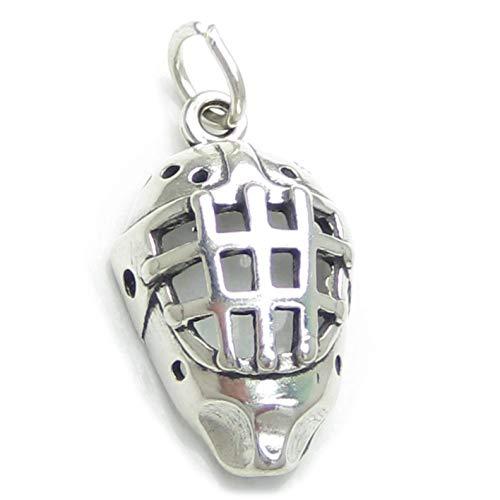 Charm-Anhänger Eishockey-Maske Sterling-Silber - 1 Masken-Anhänger SSLP2124