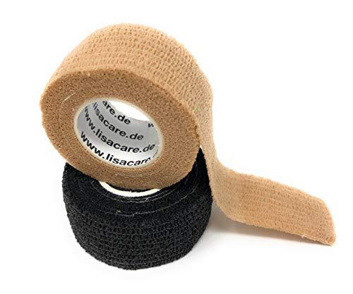 LisaCare 2er Set Hautfarbe & Schwarz Pflasterverband, Fingerpflaster, Rollenpflaster, elastische Pflaster ohne Kleber Kinderpflaster