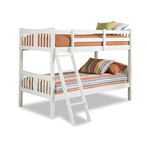 StarSun Depot Twin Over Twin Size Solid Wood Bunk Bed Frame in White Finish