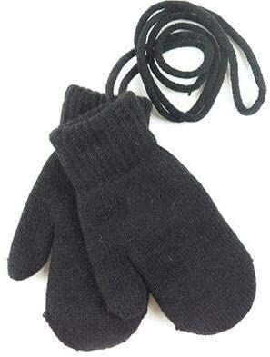 Children's Winter Thick Knitted Cashmere Double Layers Warm Gloves for Children Cute Full Fingers Gloves Mittens Gloves (Color : Black, Gloves Size : All Code is Flexible)