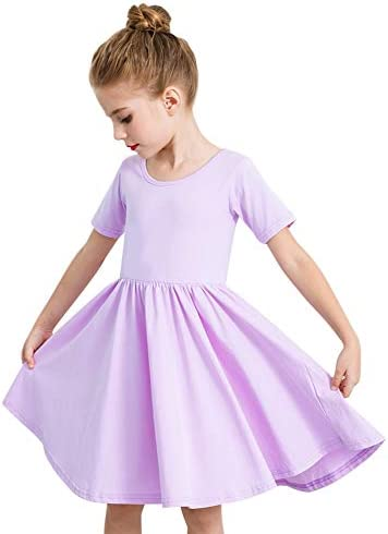 STELLE Toddler Girls Short Sleeve Casual A Line Twirly Skater Dress for School Party 3 12 Years product image