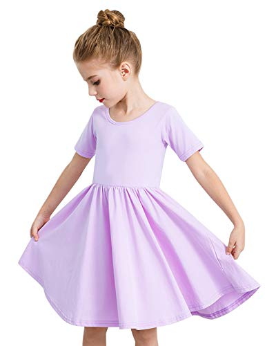 STELLE Toddler/Girls Short Sleeve Casual A-Line Twirly Skater Dress for School Party 3-12 Years Lavender