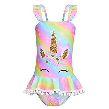 MHJY Girls One Piece Swimsuits Swimwear Unicorn Mermaid Bathing Suit Ruffle Beachwear with Pompoms,8-9 Years,Rainbow Unicorn