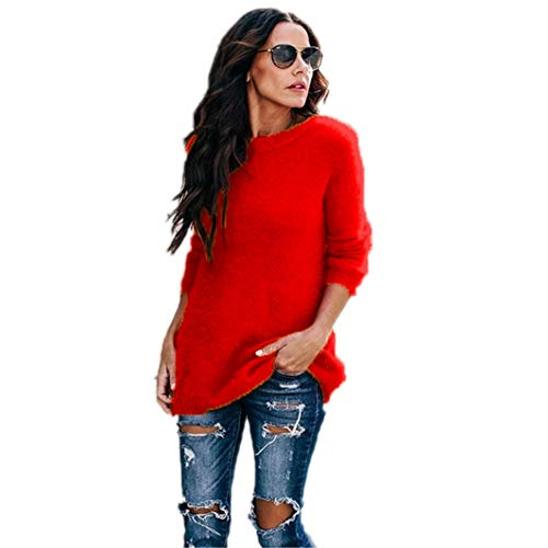 Sweater Women Autumn Winter Pullover Long Sleeve Knitted Sweater O Neck Warm Pull Femme Red XXL
