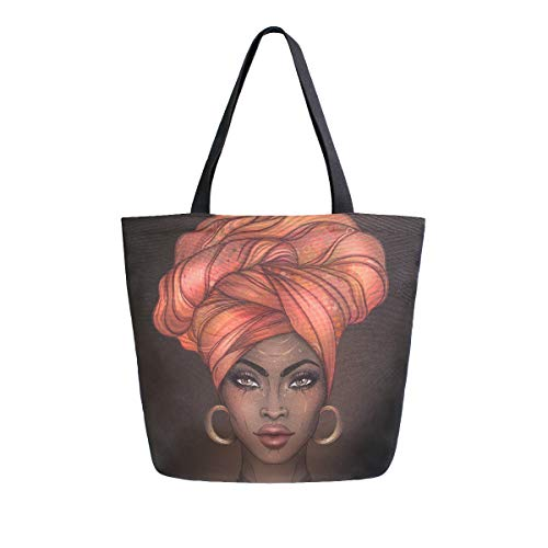 ALAZA Large Canvas Tote Bag African American Woman Shopping Shoulder Handbag with Small Zippered Pocket