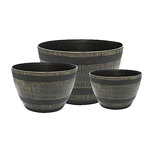 My Garden Set of 3 Plant Pots - Plastic Barrel Planters with Antique Brass Effect - Outdoor and Indoor Plant Pots