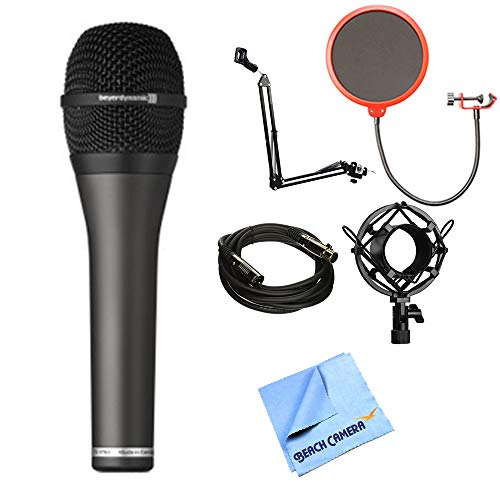 beyerdynamic TG V70d Professional Hypercardioid Dynamic Vocal Microphone (707295) with Microphone Arm Stand, Microphone Wind Screen, Microphone Shock Mount, Gold Plated Cable & Micro Fiber Cloth