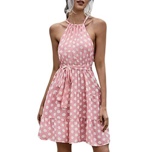Damen Sommerkleid, Frauen Bohemia Wave Point Print Kleid O-Ausschnitt Minikleid Strandkleid Casual Sexy Minikleid Mit TräGer Freizeit Sommer Kleider
