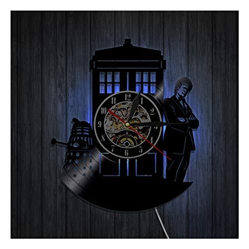 Reloj de Pared de Vinilo Reloj de Registro Reloj de diseño 3D Doctor Who 2 decoración de Pared Decoración de habitación Familiar Vintage con Relojes de Pared de Regalo de Arte de 7 Colores