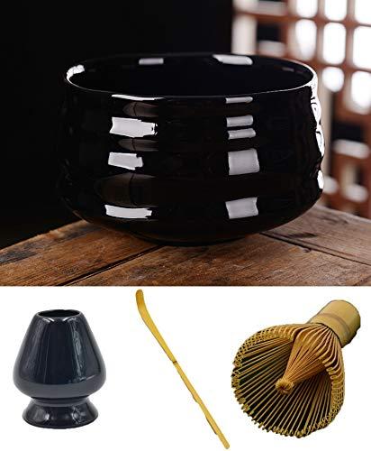 XCDM Tazón de Sopa de cerámica Japonesa de Matcha, tazón de bambú, Cuchara de té, tazón de Matcha, Kit de Inicio de Matcha Hecho a Mano, Juego de té Tradicional para la Ceremonia del té, Juego de