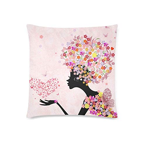 GOSMAO Chica de Flores Rosadas de Moda con Pelo Floral y Mariposas Funda de cojín Protectora Funda de Almohada, Funda de Almohada Decorativa