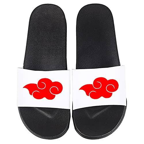 Dusch- und Badeschuhe Cosplay Anime für NARUTO Akatsuki Logo Badelatschen für Kinder und Erwachsene Jungen Mädchen Badeschlappen Damen Herren Hausschuhe Strand Pantoletten Schuhe,Weiß,41/42EU