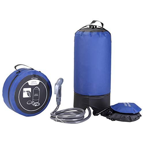 Ducha de campamento, bolsa de ducha portátil para acampar al aire libre de 12 l, ducha a presión, bolsa de ducha a presión de PVC con bomba de pie, para nadar en la playa, viajes, senderismo