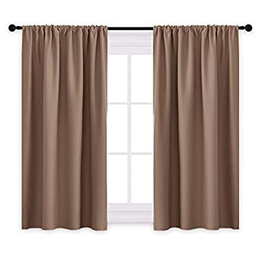 PONY DANCE Kitchen Curtains Short - Thermal Insulated Window Treatments Blackout Curtain Panels with Rod Pocket Light Block Privacy Protect for Bathroom, Wide 42  by Long 45 , Mocha, Two Pieces