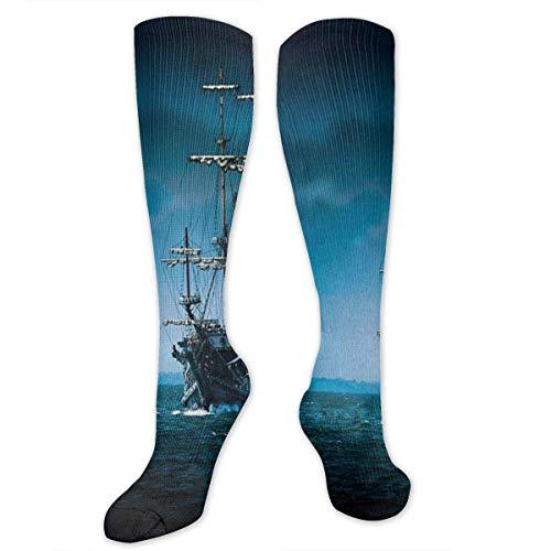 Barco pirata y luna llena con calcetines de compresin Sea Ocean para hombres y mujeres: las mejores medias para correr, viajar, Shin S