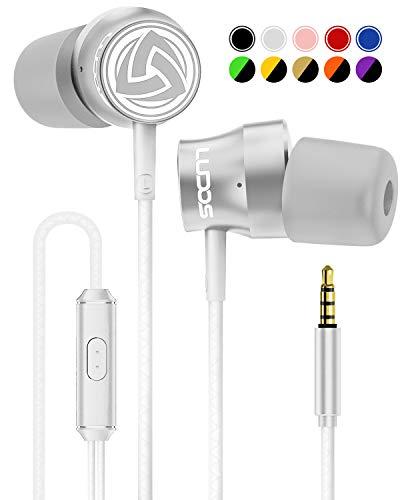 LUDOS Turbo Kopfhörer In Ear Ohrhörer mit Mikrofon und Kabel, Stylishe, Ergonomische Earphones, Neuer Memory Foam, Robustes Kabel, Bass, Headphones für iPhone, iPad, Samsung, Computer, Laptop, PC