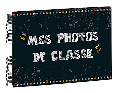 Exacompta - Réf. 16010E - 1 Album photos à spirales 50 pages noires pour photos de classe - Format 32x22 cm - couverture pelliculage brillant - 150 photos