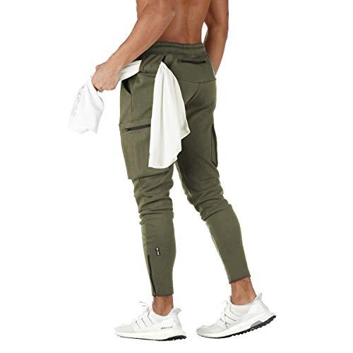 FEDTOSING - Pantalones de deporte para hombre, de algodón, ajustados, para correr, tiempo libre, trainning Verde militar. XL