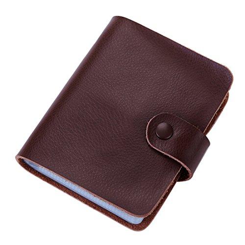 esdrem funda de piel estilo libro titular de la tarjeta de Crédito Tarjeta de Identificación de negocios 60Count nombre tarjeta titular libro café