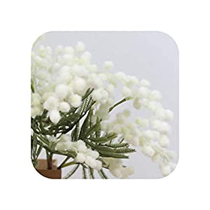 F-pump 42Cm Fake Orange Mimosa Flower Branch Artificial Palm Flower Plastic Autumn Floral Material Acacia Plant Home Halloween Decor-White-