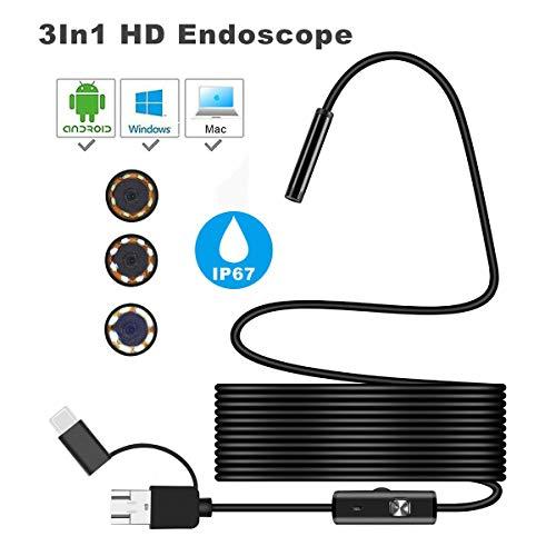 Cámara de Video Micro de inspección a Prueba de Agua a Prueba de Agua de microscopio endoscópico 3-en-1 Tubo endoscopio endoscopio USB 3Mm 1 para PC