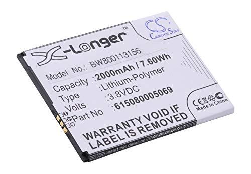 vhbw Li-Polymer Akku 2000mAh (3.8V) für Handy Smartphone Telefon Elson Mobistel Cynus F303-S, F9, F9 4G wie 615080005069.