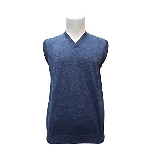 Peter Gribby T-Shirt sans Manches pour Homme en Laine mérinos Pull - Bleu - L